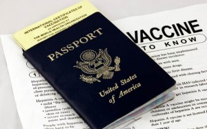 vaccines needed for travel showing passport and health record